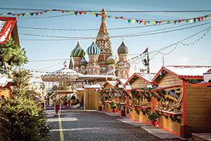 (vignette) Vignette Russie Moscou village foire de Noel sur la Place Rouge  fo
